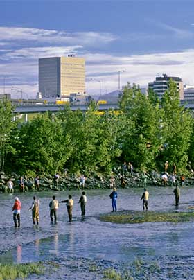 Group of men fly-fishing along a stream, city with skyscrapers in distance with lush green trees.