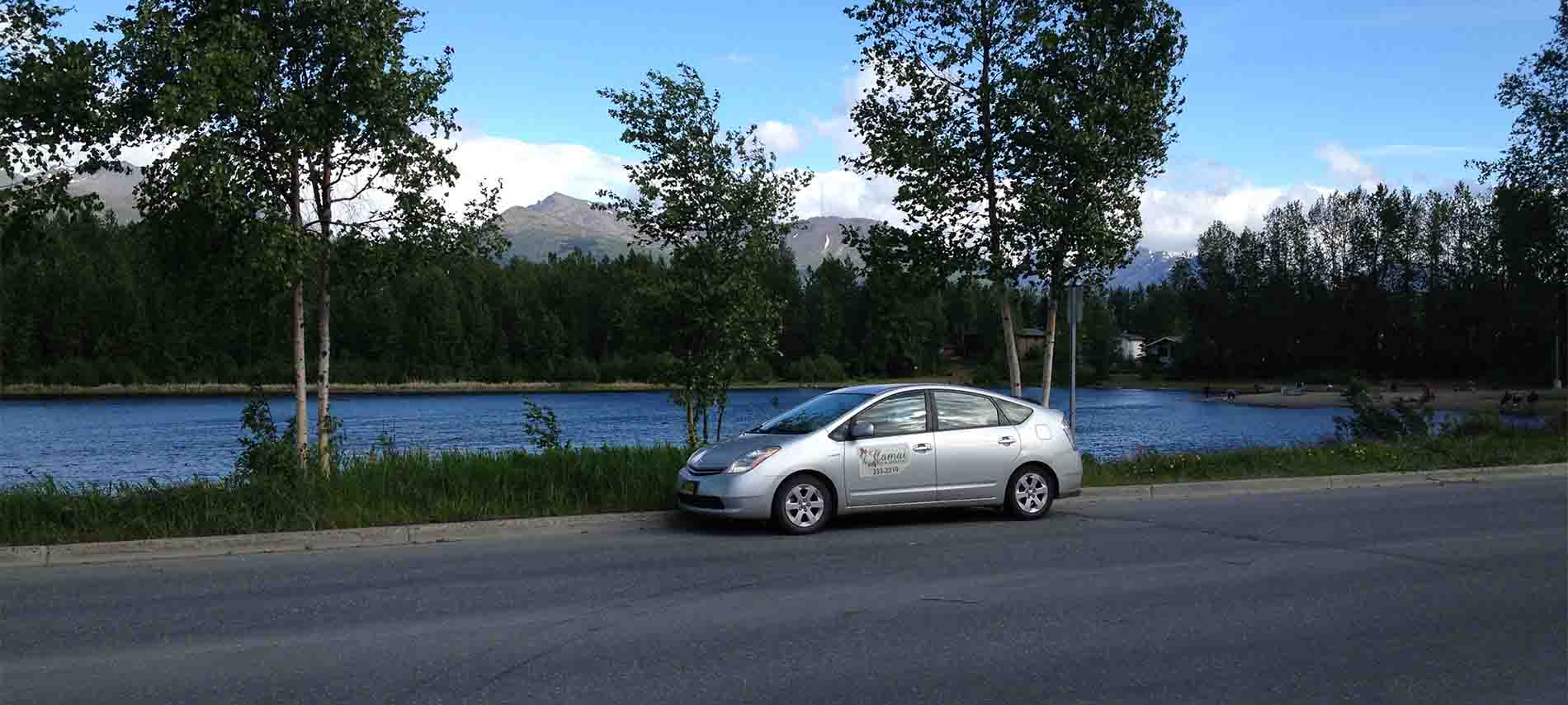 Mountain range background and lake surround by leafy green trees with car on street